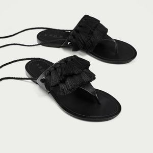 NWT ZARA LEATHER SANDALS WITH TASSELS